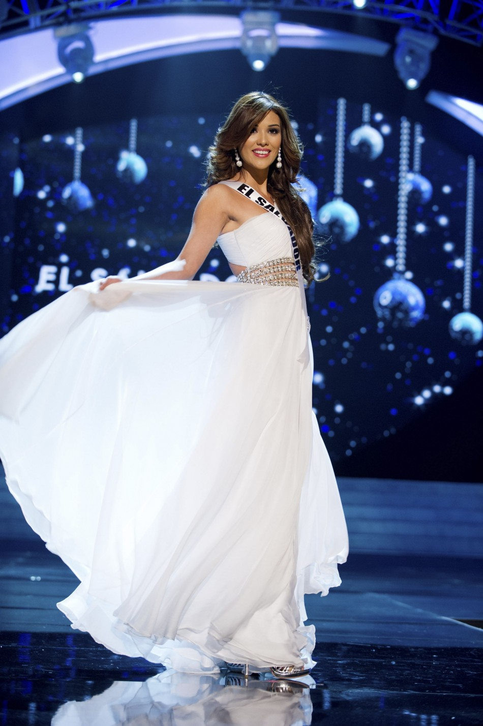 Miss El Salvador 2012 Clavel competes in an evening gown of her choice during the Evening Gown Competition of the 2012 Miss Universe Presentation Show in Las Vega