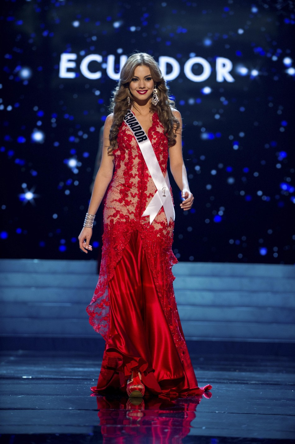 Miss Ecuador 2012 Perez competes in an evening gown of her choice during the Evening Gown Competition of the 2012 Miss Universe Presentation Show in Las Vegas