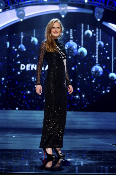 Miss Denmark 2012 Hewitt competes in an evening gown of her choice during the Evening Gown Competition of the 2012 Miss Universe Presentation Show in Las Vegas
