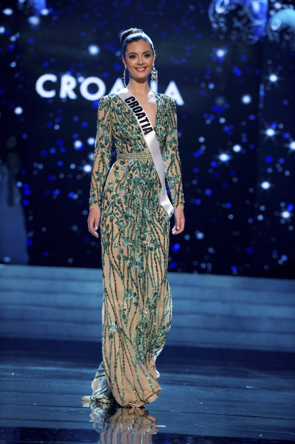 Miss Croatia 2012 Burg competes during the 2012 Miss Universe Presentation Show in Las Vegas