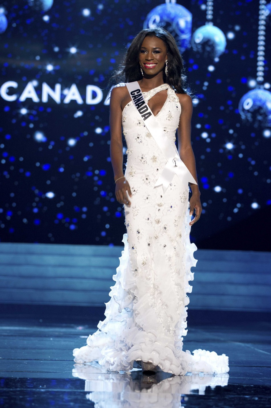 Miss Canada 2012 Yamoah competes during 2012 Miss Universe Presentation Show in Las Vegas