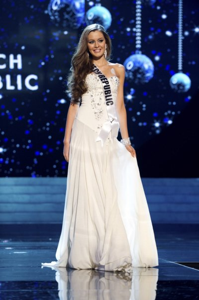 Miss Czech Republic 2012 Chlebovska competes in an evening gown of her choice during the Evening Gown Competition of the 2012 Miss Universe Presentation Show in Las Vegas