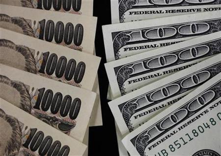 100 dollar bank notes and 10,000 yen notes.