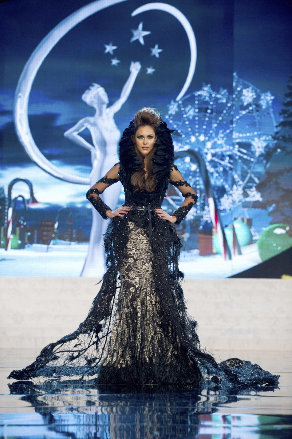 Miss Malaysia Kimberley Leggett on stage at the 2012 Miss Universe National Costume Show at PH Live in Las Vegas