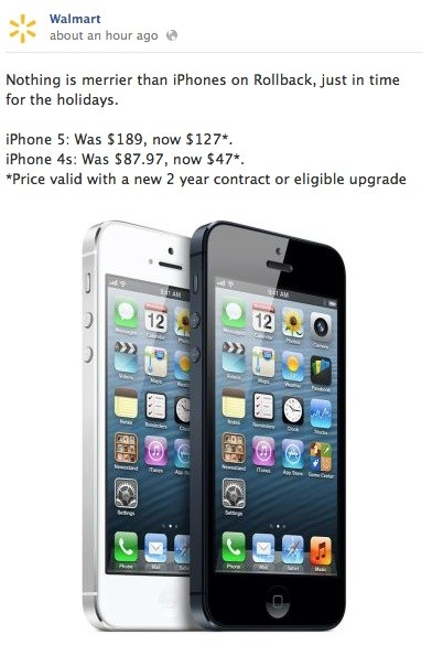 Walmart Offers Big Discounts on iPhone 5, iPhone 4S and iPad 3 for Holiday Season