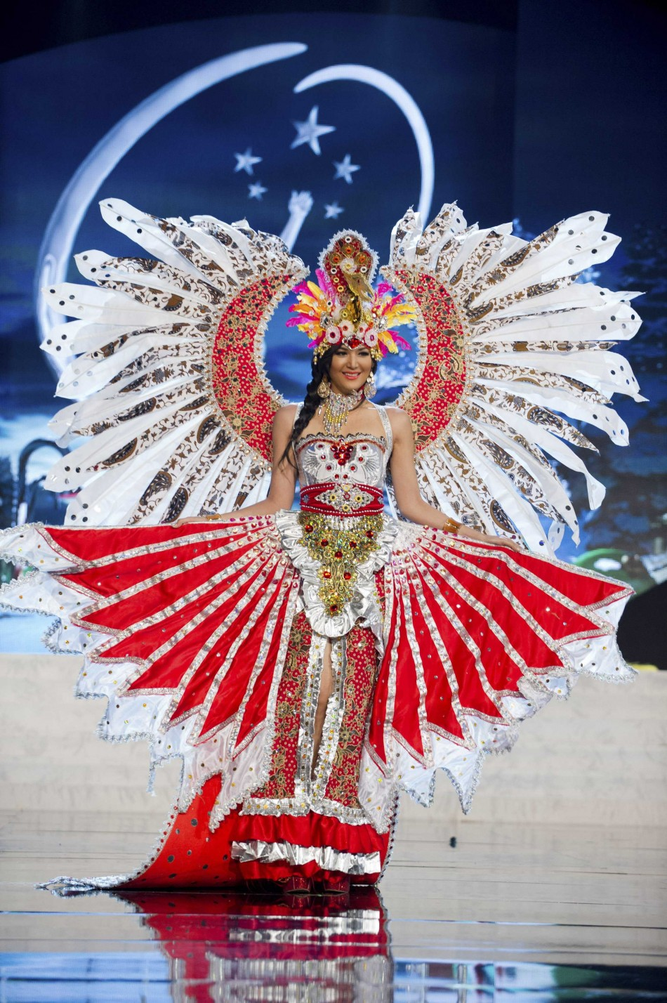 Miss Indonesia Maria Selena on stage at the 2012 Miss Universe National Costume Show at PH Live in Las Vegas