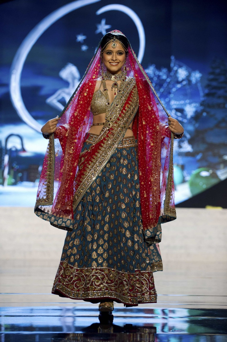 Miss India Ruhi Singh on stage at the 2012 Miss Universe National Costume Show at PH Live in Las Vegas