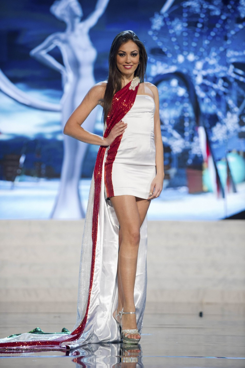 Miss Italy Grazia Pinto on stage at the 2012 Miss Universe National Costume Show at PH Live in Las Vegas