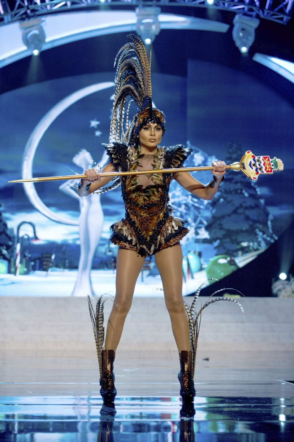 Miss Cayman Islands Lindsay Japal on stage at the 2012 Miss Universe National Costume Show at PH Live in Las Vegas