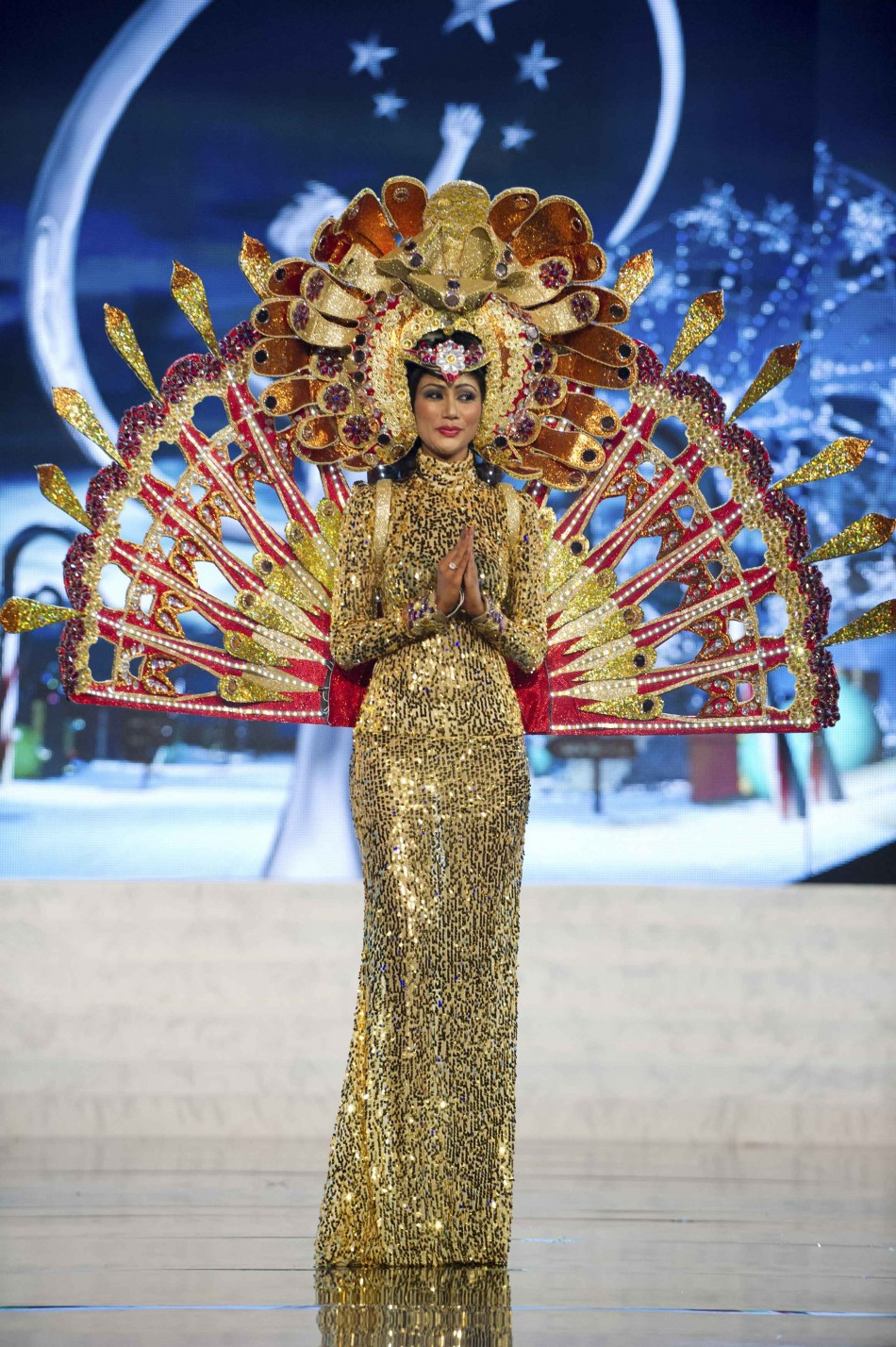 Miss Sri Lanka Sabrina Herft on stage at the 2012 Miss Universe National Costume Show at PH Live in Las Vegas
