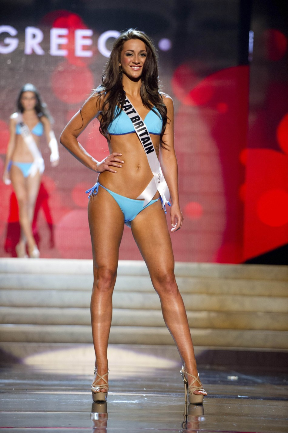 Miss Great Britain 2012 Holly Hale in the Swimsuit Competition of the 2012 Miss Universe Presentation Show at PH Live in Las Vegas