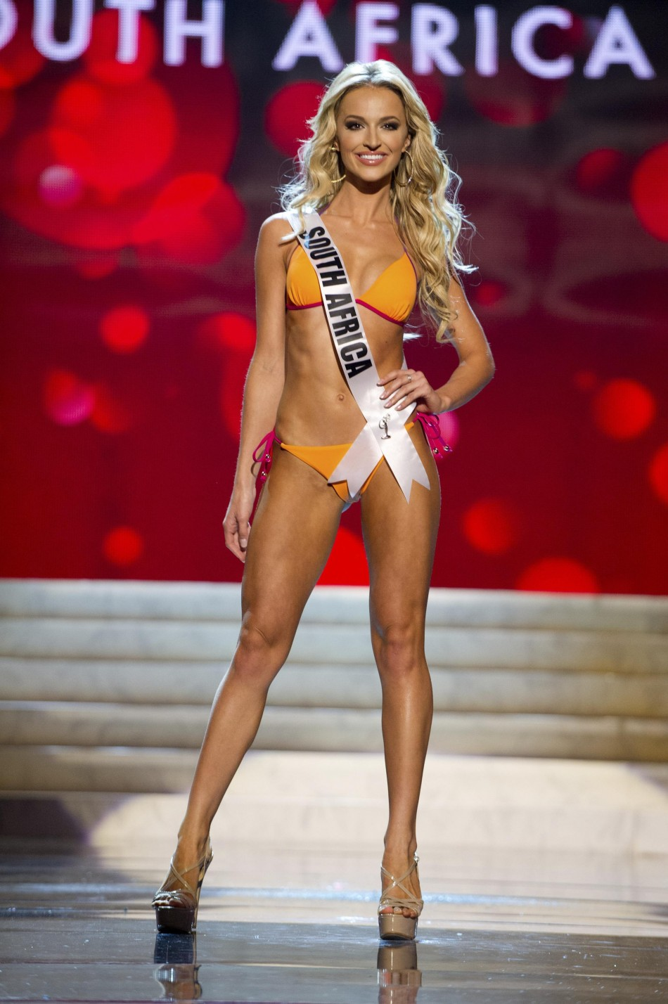 Miss South Africa Melinda Bam at the Swimsuit Competition of the 2012 Miss Universe Presentation Show at PH Live in Las Vegas