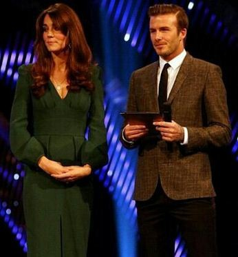 The Duchess of Cambridge with David Beckham.