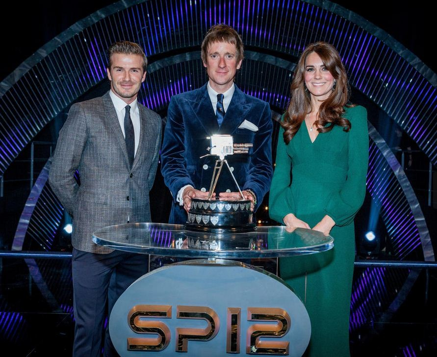 The Duchess of Cambridge has the broadest smile of the three as she stands next to Sports Personality of the Year Bradley Wiggins, with David Beckham on the left