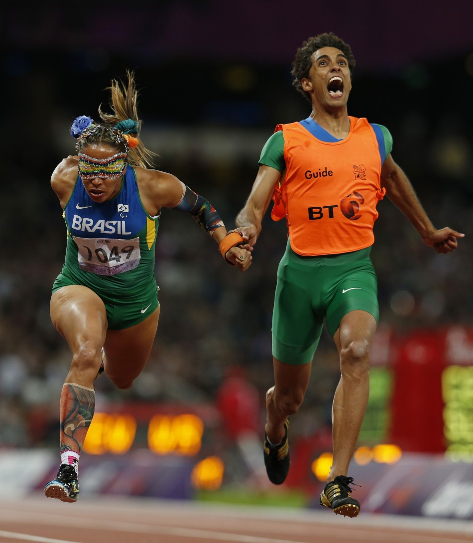 Images of 2012 Terezinha Guilhermina left and her guide Guilherme Soares  paralympics