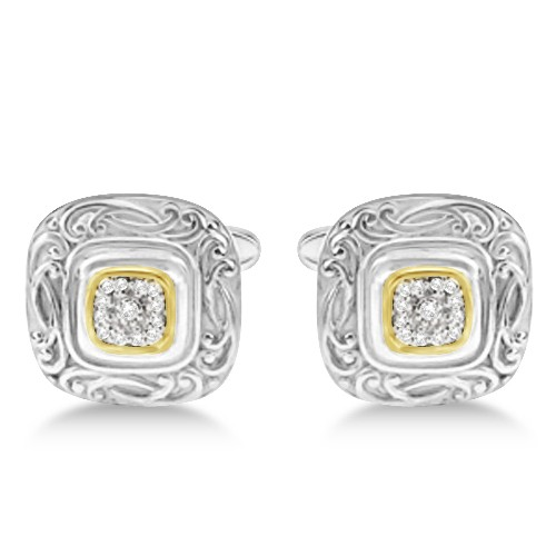 Vintage Engraved Diamond Cuff Links in 14k Yellow Gold & Sterling Silver