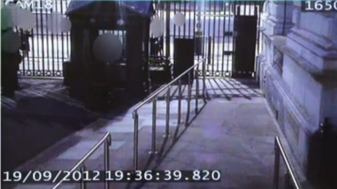 Still from the CCTV footage of Andrew Mitchell's encounter with police (Dispatches/Channel 4 News)