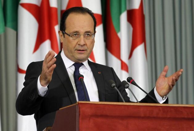 France's President Francois Hollande gives a speech