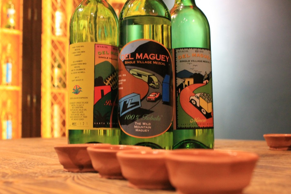 An array of mezcals for our tasting session at Wahaca in Charlotte Street, London (Photo: Lianna Brinded)