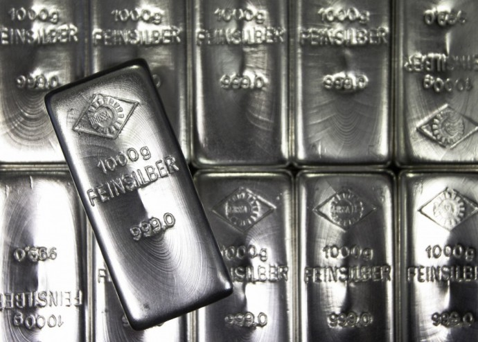 Silver bars are displayed at the Austrian Gold and Silver Separating Plant 'Oegussa' in Vienna February 28, 2011