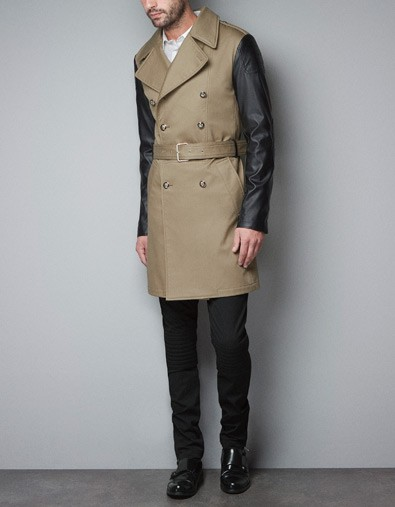 TRENCH COAT WITH FAUX LEATHER SLEEVES