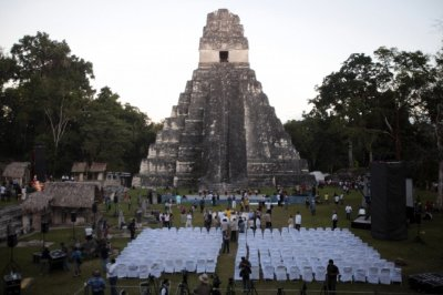 Grand Jaguar pyramid a day before the Oxlajuj Baktun celebration at the Tikal Mayan ruins in Peten