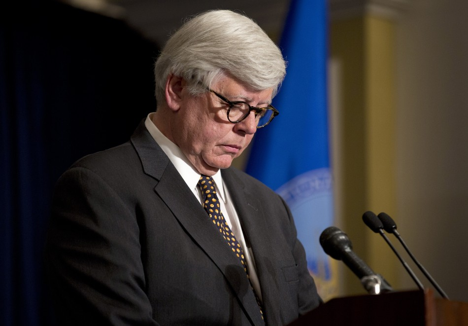 NRA president David Keene leads a minute's silence for victims of the Sandy Hook School massacre