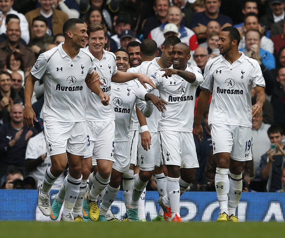 Tottenham Hotspur Players Celebrate a Goal