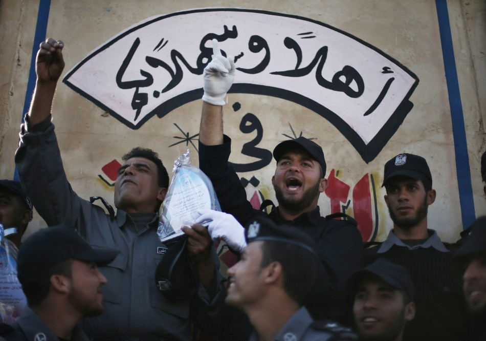 Members of Hamas police celebrate during a graduation ceremony in Gaza City