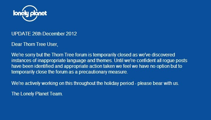 Thorn Tree website after action by BBC bosses