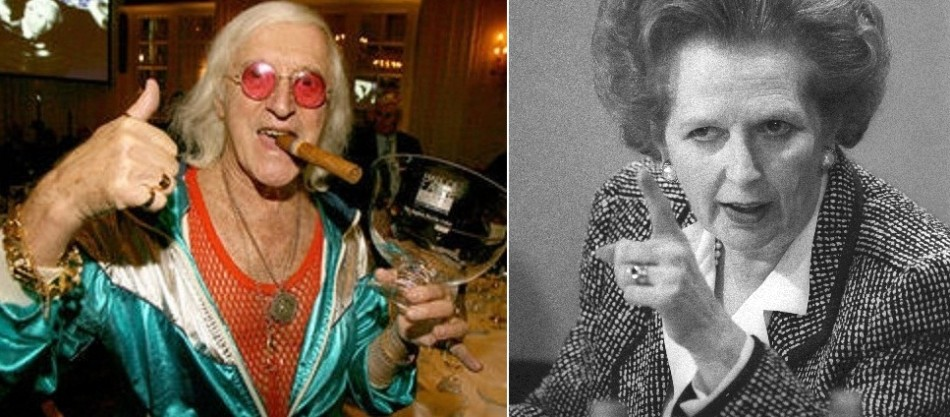 Savile (l) and Thatcher