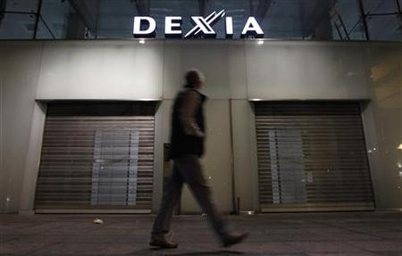 Closed entrance of Dexia's headquarters in Brussels