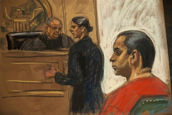 Court sketch of Valle in court