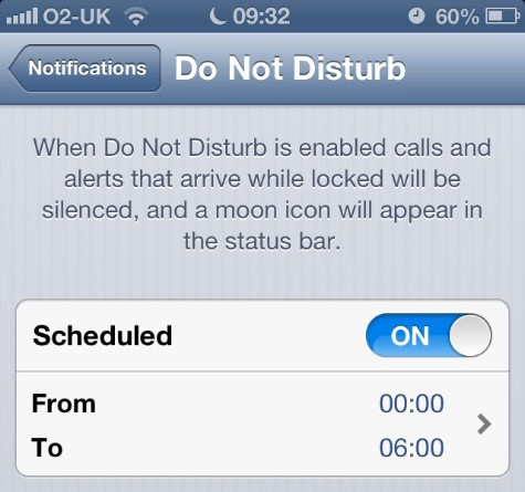iOs Do not Disturb feature