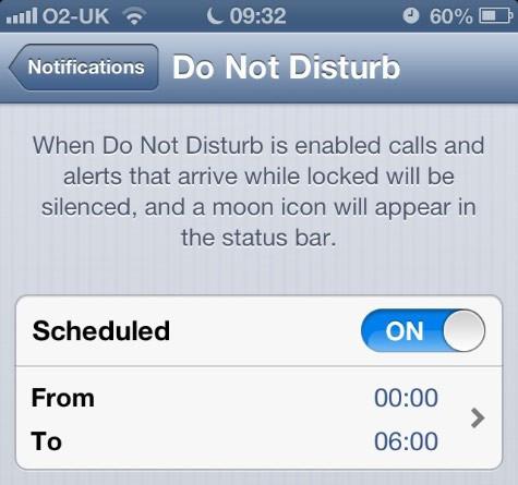 iOs Do not Disturb feature
