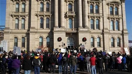 Protesters gathered in front of the of the Jefferson County Courthouse in Steubenville (Reuters)