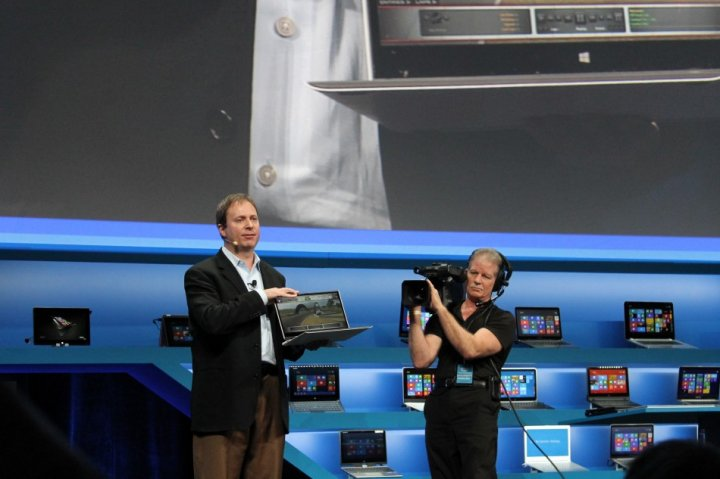 Intel vice president Kirk Skaugen showing off its reference Ultrabook for its fourth generation of Core processors.