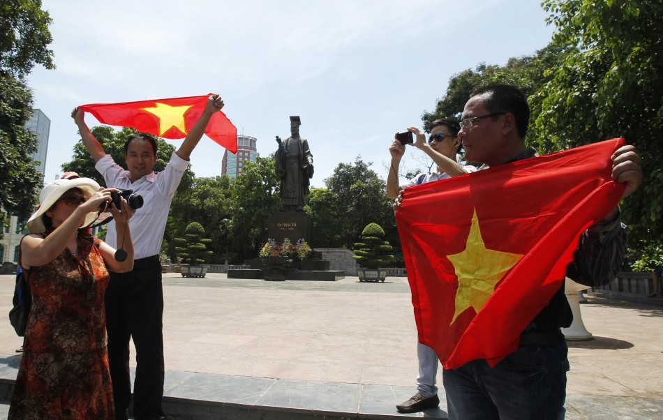 Bloggers attending an anti-China protest in Hanoi (Reuters)