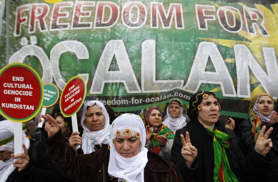 Kurds demonstrate against detention of jailed PKK leader Abdullah Öcalan during protest in Strasbourg (Reuters)