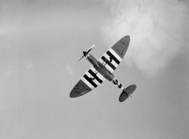 Spitfire in flight during World War II