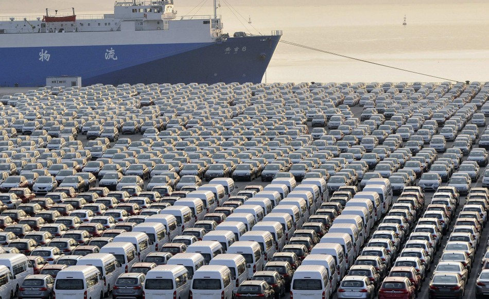 Chinese cars waiting for export