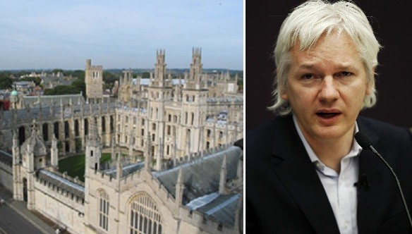 All Souls College at Oxford University (l) and JUlian Assange