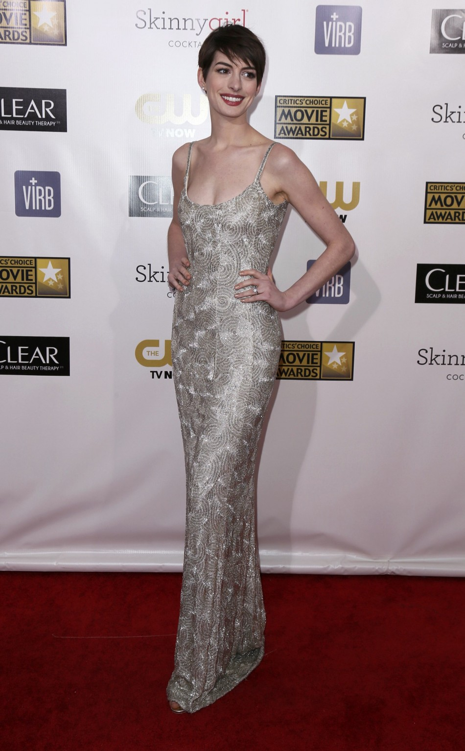 Actress Anne Hathaway from the film Les Miserables poses on arrival at the 2013 Critics Choice Awards in Santa Monica