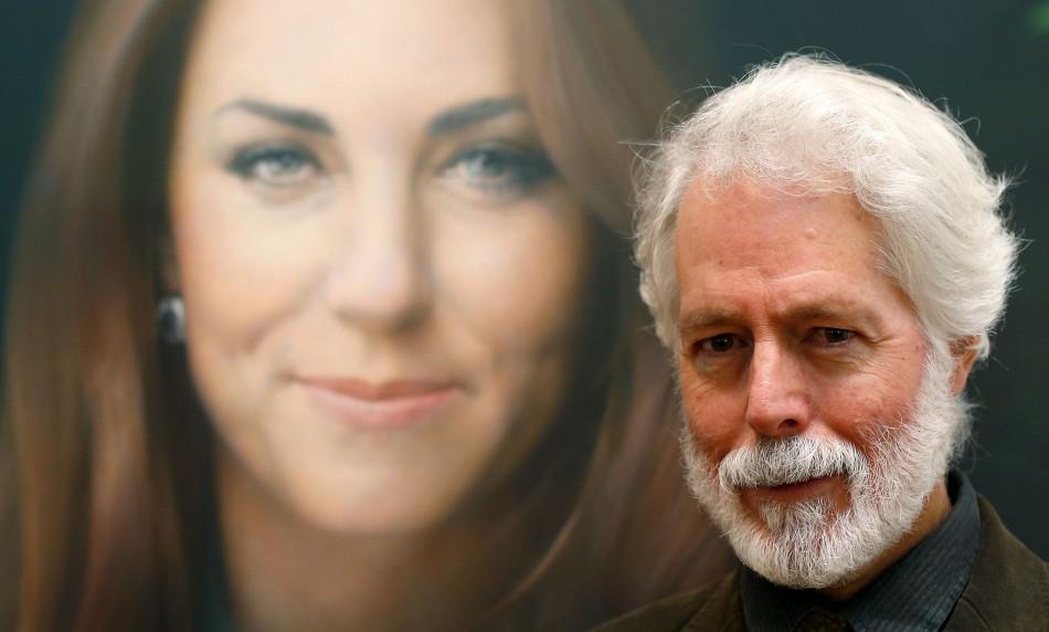 Glasgow-born artist Paul Emsley next to his portrait of Catherine, Duchess of Cambridge