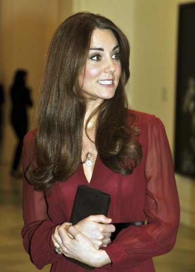 Catherine, Duchess of Cambridge at a private viewing of her new portrait