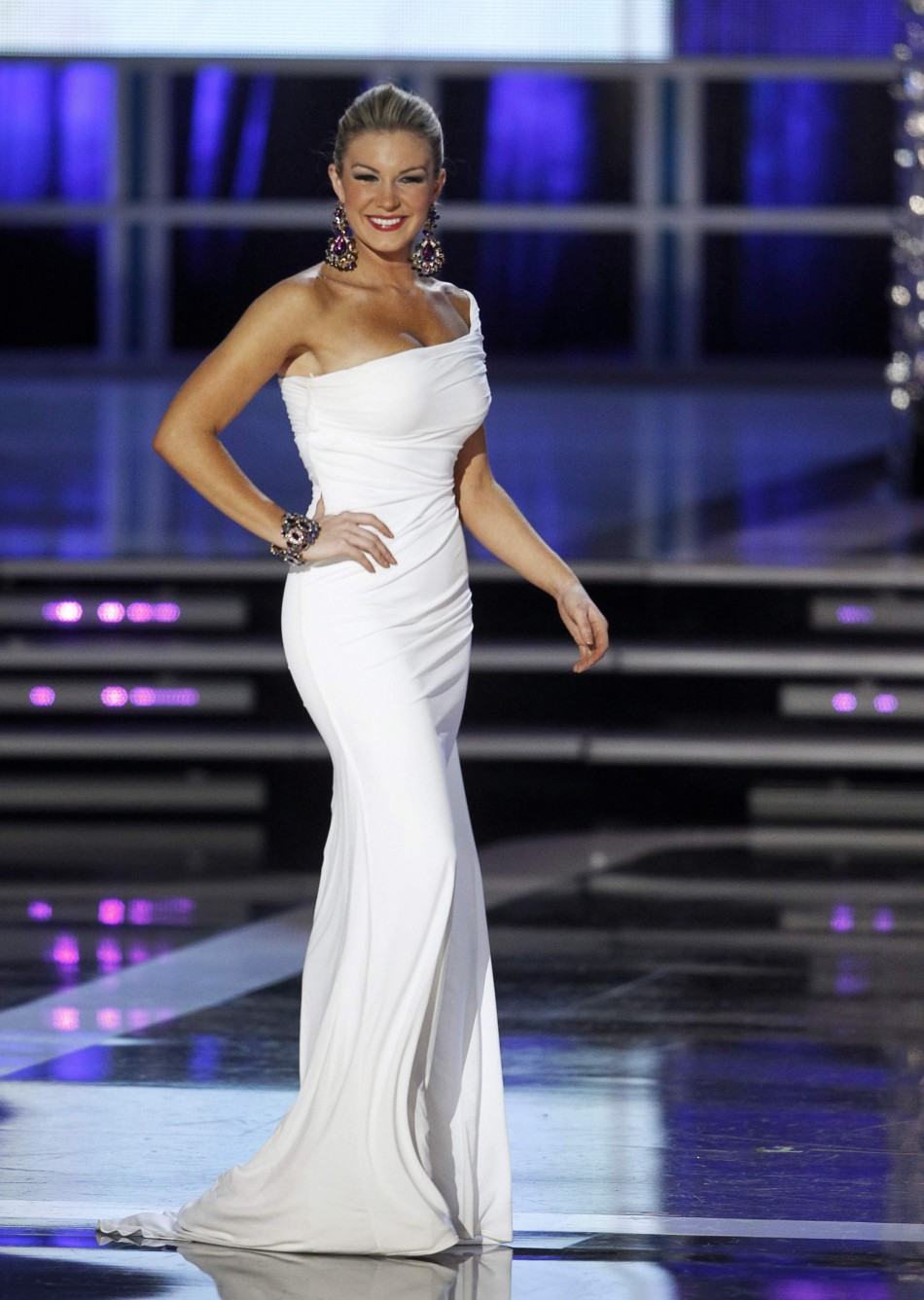 Mallory Hytes Hagan, Miss New York, competes in the evening gown portion of the Miss America Pageant in Las Vegas