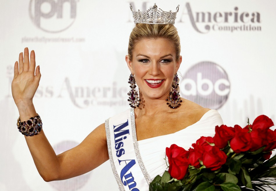 Miss America 2013 Mallory Hytes Hagan, 23, Miss New York, poses during a news conference in Las Vegas