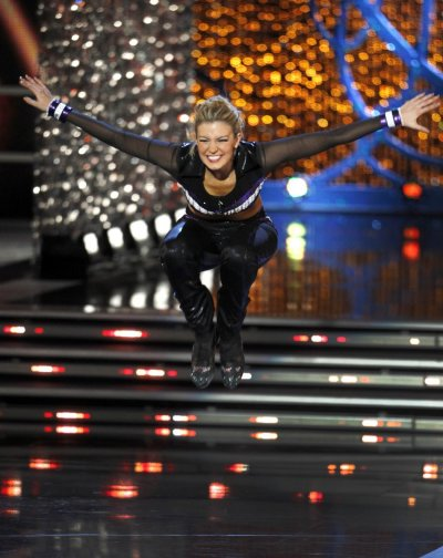 Mallory Hytes Hagan, Miss New York, tap dances during the talent portion of the Miss America Pageant in Las Vegas