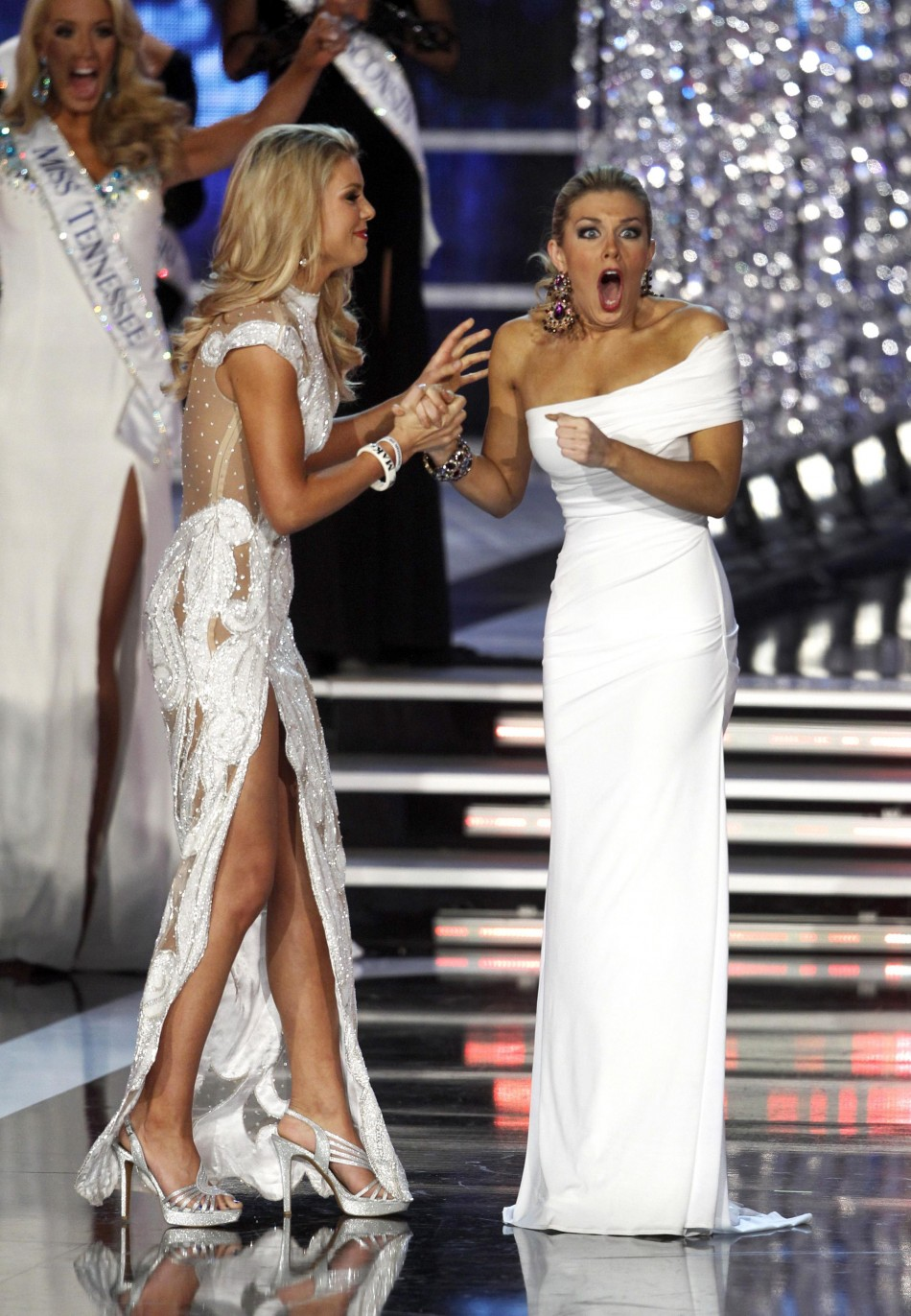Miss New York Hagan reacts with first runner up Miss South Carolina Rogers after being named Miss America 2013 in Las Vegas