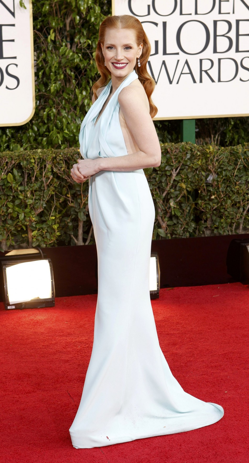 Actress Jessica Chastain arrives at the 70th annual Golden Globe Awards in Beverly Hills